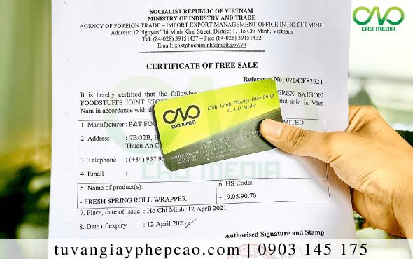 Đăng ký Certificate Of Free Sale sản phẩm bánh bao không nhân